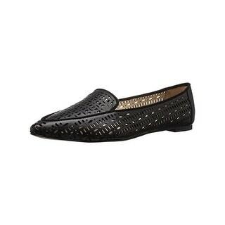 Franco Sarto Womens Soho Flats Leather Perforated Black 6 Medium (B,M) - 6 medium (b,m)