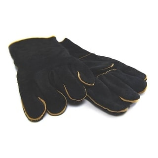 GrillPro 00528 Black Leather Barbecue Gloves