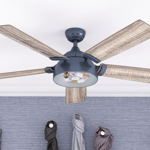 "52"" Prominence Home Octavia Indoor Industrial Ceiling Fan with Remote, Sapphire Blue"