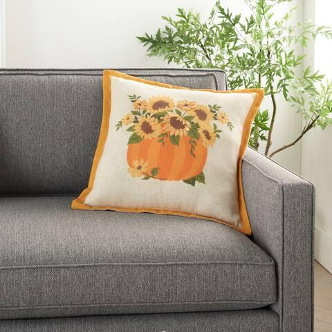"""Mina Victory Fall Harvest Sunflowers Pumpkin Natural Throw Pillow 18"""" x 18"""""""