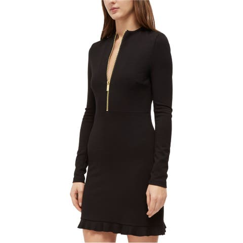 French Connection Womens Solid Jersey Dress, Black, 12