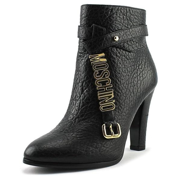Moschino TAGLIA Women Round Toe Leather Black Ankle Boot