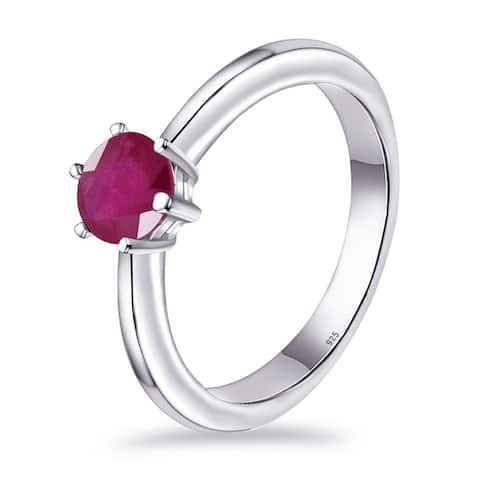Emerald, Sapphire,Ruby Sterling Silver Round, Pear Solitaire Ring by Orchid Jewelry