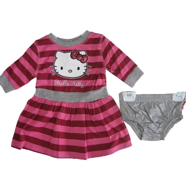 Hello Kitty Baby Girls Gray Fuchsia Striped Sequined Underwear Dress 2 Piece Set 12M-24M