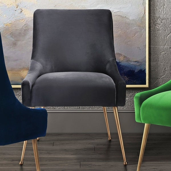 Beatrix Dark Grey Velvet Side Chair. Opens flyout.