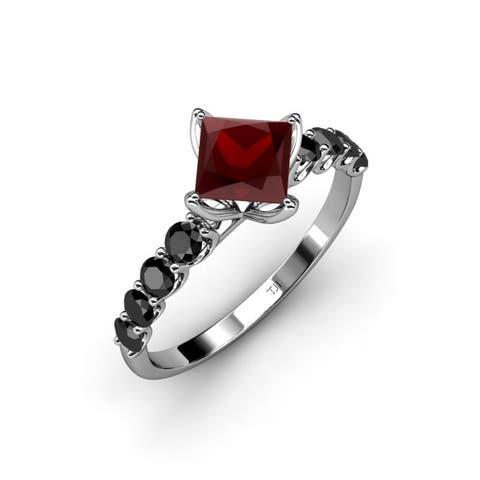 TriJewels Red Garnet Black Diamond Womens Engagement Ring 14K Gold