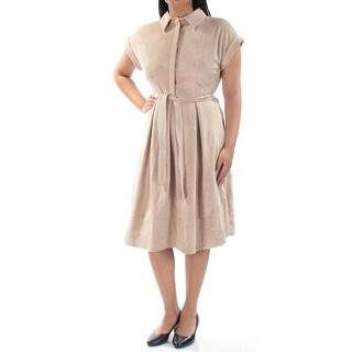 INC $169 Womens New 1117 Beige Belted Short Sleeve Shirt Dress L B+B