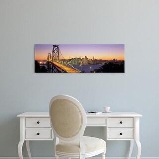 Easy Art Prints Panoramic Images's 'Bay Bridge At Night, San Francisco, California, USA' Premium Canvas Art