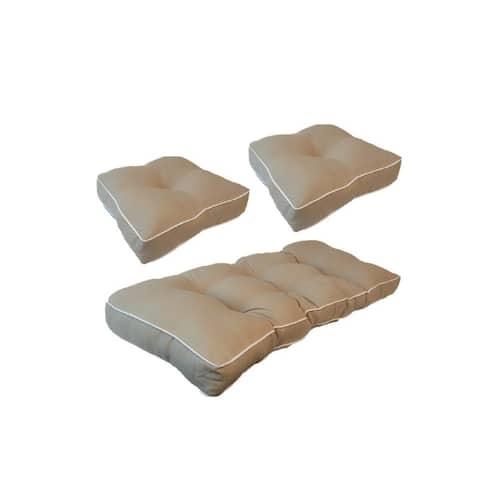 Suntastic Indoor/ Outdoor Linen Textured Settee and Seat Cushions (Set of 3)