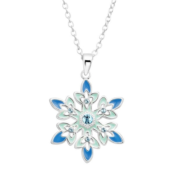Disney's 'Frozen' Crystal Snowflake Pendant in Sterling Silver-Plated Brass - Blue