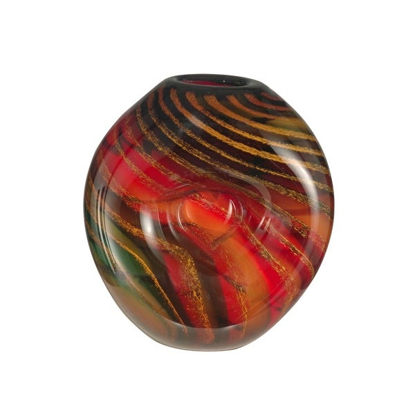 Dale Tiffany AV12038 Striped Heart Vase with Hand Blown Art Glass - N/A