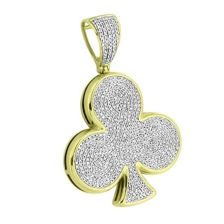 Diamond 10k Yellow Gold Playing Cards Club Pendant 2.0 Inch Unique 1.50 Ct