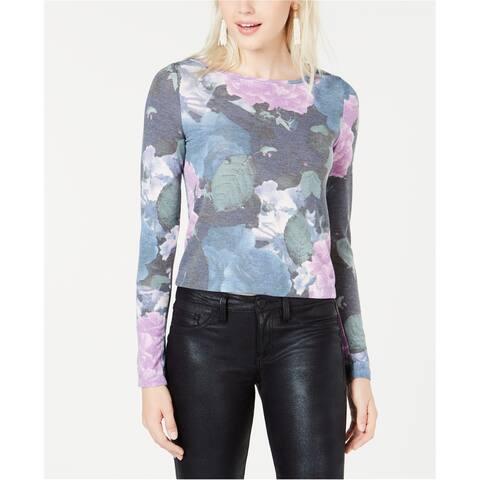 bar III Womens Floral Basic T-Shirt, blue, Large