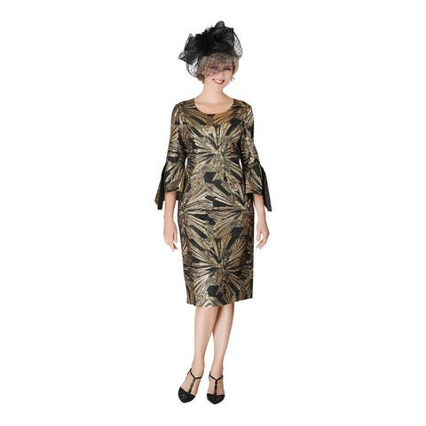 Giovanna Signature Bell Slit Sleeve Black&Gold Brocade Dress