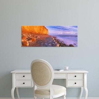 Easy Art Prints Panoramic Images's 'Cliff on the beach, Burton Bradstock, Dorset, England' Premium Canvas Art