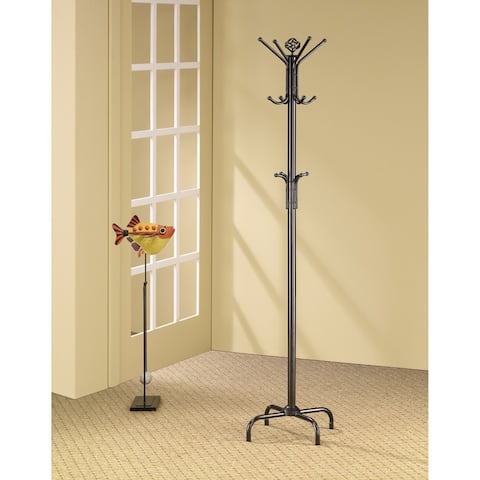 Sturdy Classic Black Satin Finish Coat Rack