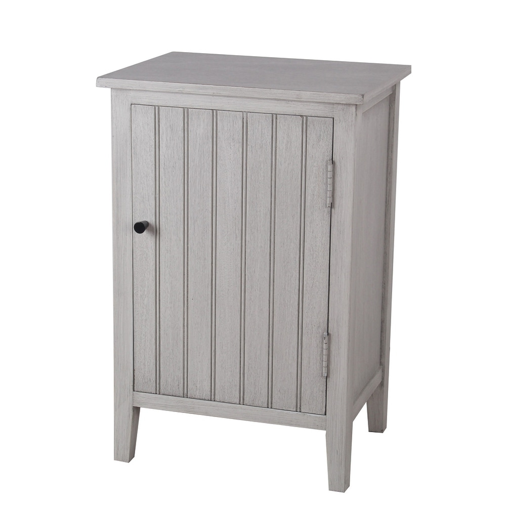 1 Door Storage Accent Stand with Vertical Design and Round Knob, Gray (Grey Wood)