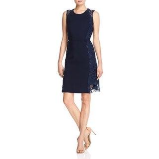 Elie Tahari Womens Hudson Cocktail Dress Lace Trim Sleeveless
