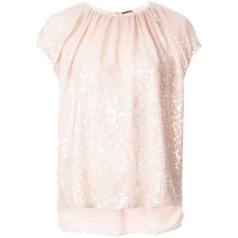 Adam Lippes Womens Pink Short Sleeve Jewel Neck Evening Top Size 4