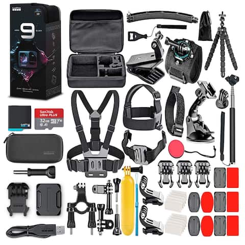 GoPro HERO9 Black with 32GB Card & 50 Piece Accessory Kit - Loaded
