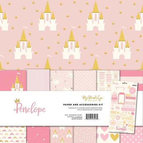 """Penelope W/Gold Accents - My Mind's Eye Paper & Accessories Kit 12""""X12"""""""