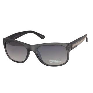 Perry Ellis Mens Plastic Sunglasses Grey Matte PE60-1, Includes Perry Ellis Pouch, 100% UV Protection