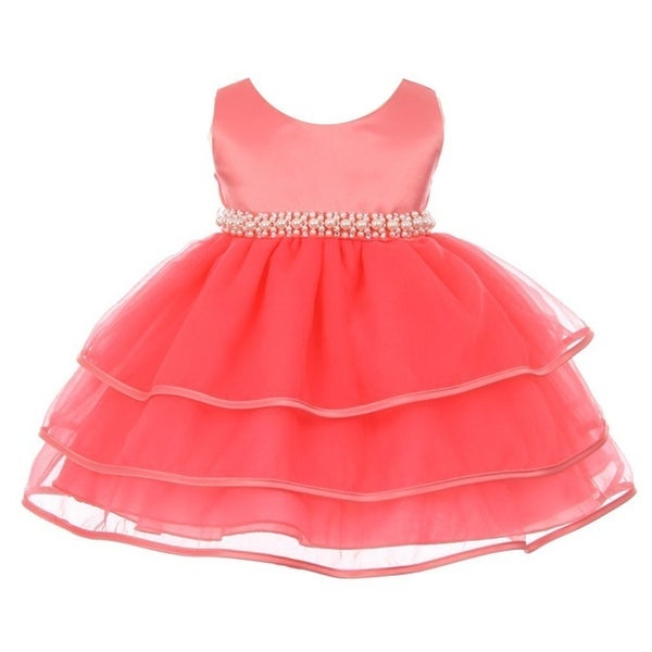 Chic Baby Girl Coral Organza Pearl Sash Triple Layer Flower Girl Dress