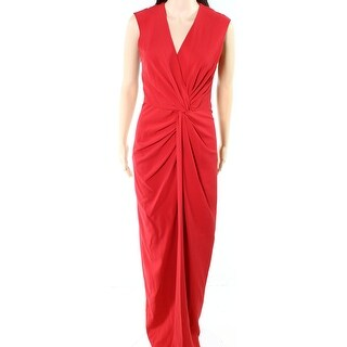 Belle Badgley Mischka NEW Red Womens 4 Twist-Front Sheath Gown Dress