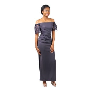 Long Lace Off-The-Shoulder Jersey Sheath
