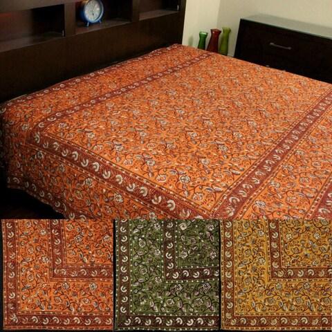 Handmade Dabu Block Print Floral Tapestry Wall Hanging Bedspread Throw Cotton 72 x 106 inches Saffron Green Orange