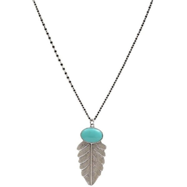 "LoulaBelle Jewelry Womens Necklace Feather 28"" Silver Turq LN9044TQ - silver turquoise"