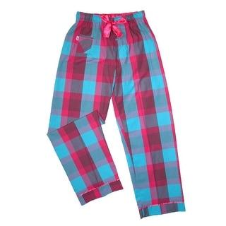 Boxercraft Women's Cotton Plaid Pajama Sleep Pants - south beach pink and blue