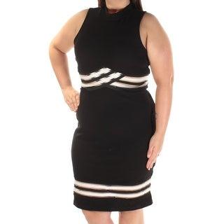Womens Black White Knee Length Body Con Casual Dress Size: XL