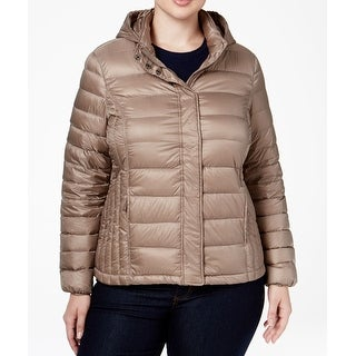 32 Degree NEW Womens Size 1X Plus Taupe Brown Quilted Down Jackets