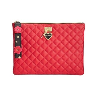 Betsey Johnson Womens Clutch Handbag Faux Leather Quilted - Medium