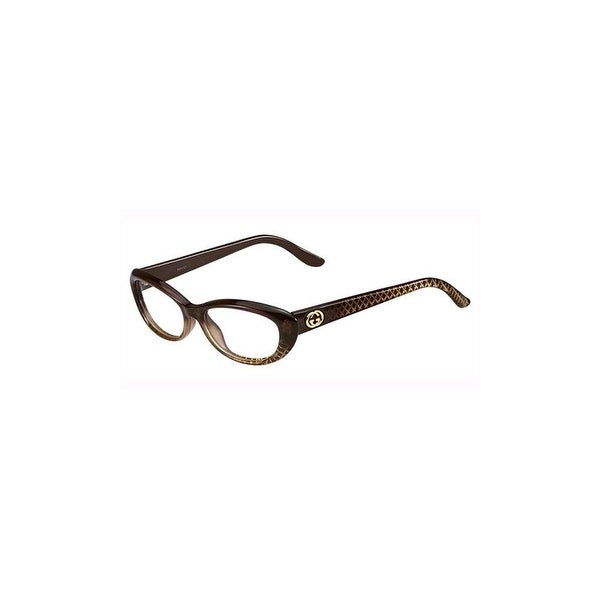 Gucci Womens Eyeglasses 3566 W9B/16 Plastic Oval Brown Gold Frames