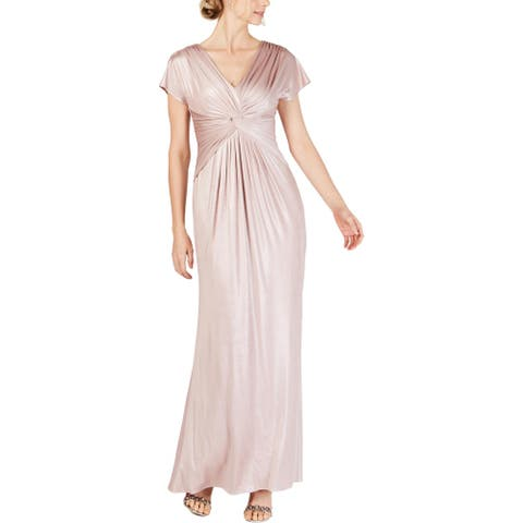 Adrianna Papell Womens Petites Evening Dress Metallic Shimmer - Dusted Petal