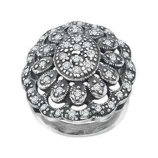 Van Kempen Art Nouveau Ring with Swarovski Crystals in Sterling Silver - White