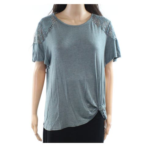 Jolt Blue Women's Size Large L Embroidered Tie-Front Knit Top