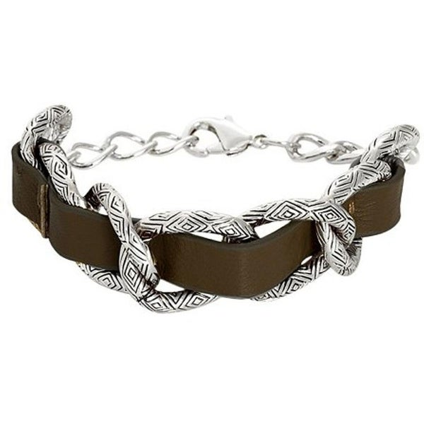 House Of Harlow 1960 Womens Link Bracelet Palladium Plated Ribbon Engraved - dark chocolate/silver