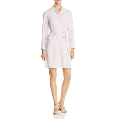 Eileen Fisher Womens Shirtdress Tencel Blend Mandarin - Ceramic