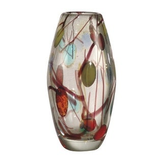 """9.25"""" Red, Green, Blue, and Clear Lesley Decorative Hand Blown Glass Vase"""