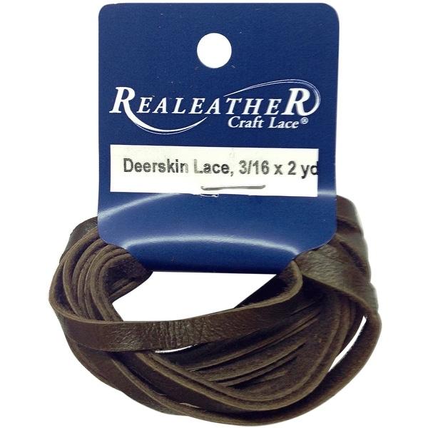 """Deerskin Lace .1875""""X2yd Packaged-Chocolate - brown"""