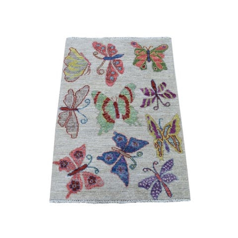 """Shahbanu Rugs Peshawar With Colorful Butterflies Design Organic Wool Hand Knotted Oriental Rug (2'1"""" x 3'0"""") - 2'1"""" x 3'0"""""""