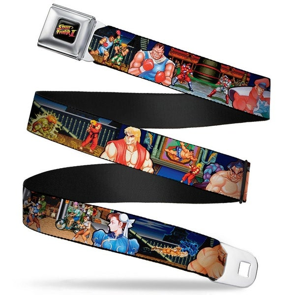 Street Fighter Ii Logo Full Color Black Street Fighter Ii 11 Character Seatbelt Belt