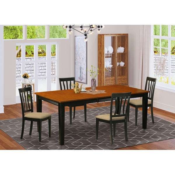 Five-piece Dining Set Contains Rectangle Table and 4 Chairs in Black and Cherry Finish. Opens flyout.