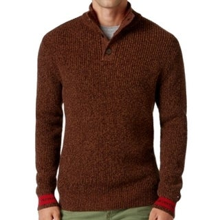 Tommy Hilfiger NEW Brown Mens Size XL Marled-Knit Mock-Neck Sweater