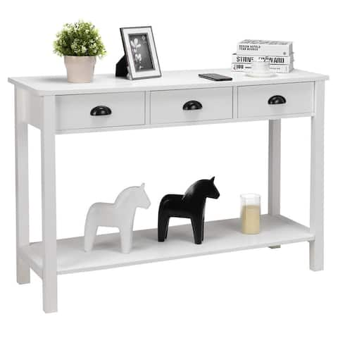 """Costway 47"""" Console Table Hall Table Side Desk Accent Table Drawers"""