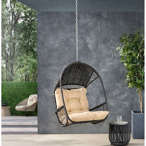 Greystone Outdoor/Indoor Wicker Hanging Chair with 8 Foot Chain (NO STAND) by Christopher Knight Home