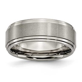 Chisel Ridged Edge Brushed and Polished Titanium Ring (8.0 mm)